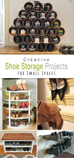 Shoe Storage Projects for Small Spaces! Come check out his round-up and see all the clever and creative DIY projects and tutorials for shoe organization and shoe storage racks! Treatment Projects Care Design home decor Shoe Storage Diy, Laundry Room Storage, Small Storage, Storage Racks, Cheap Storage, Shoe Racks, Shoe Storage Ideas For Small Spaces, Outdoor Shoe Storage, Creative Storage