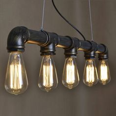 Antique Brass Wrought Iron Water Pipe Suspension Light - Pendant Lights - Ceiling Lights - Lighting