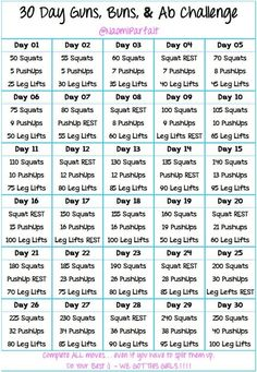 30 Days Guns, Buns and Ab Challenge