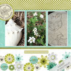 """Digital scrapbooking layout """"Favorite Season (Spring)""""  featuring the scrapbooking design Challenge 283 """"Heap It Up"""" now available at pixels2Pages.net.  Created in Forever Artisan software using digital content from the Forever / Panstoria Store, including artwork from Jenn Martakis Designs and assorted Creative Memories Kits. (Prospective members - check out our Free Trial!) Garden flowers, seashell, and cat stepping stone photos by Penny Peterson."""