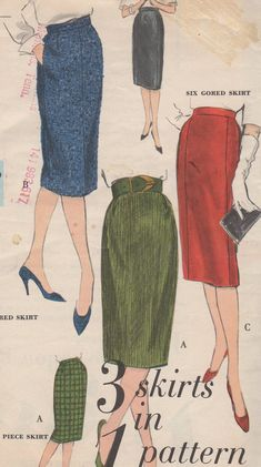 1950's Misses' Slim Skirt Vogue 5108 Waist 26 Hip 36 by HelaQ