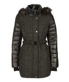 Plaid Insert Puffer Coat in Black / Grey Plaid #rickis