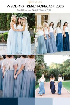 Spring 2020 Trends you can incorporate into your wedding now. Blue bridesmaid skirts are all … Wedding Planning Pictures, Wedding Planning Binder, Wedding Planning Inspiration, Bridesmaid Skirts, Blue Bridesmaids, Save The Date Inspiration, Piercings, Spring Fashion Trends, Moda Emo