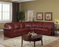 """Brentwood 124"""" Three Piece Leather Sectional In Matador Walnut ..."""