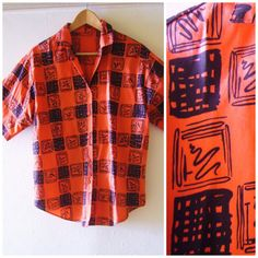Vintage 1980s Mens Red and Black Graphic Novelty Print Short Sleeved Shirt by Cabinet49, $35.00