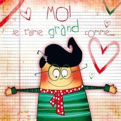 """Morgane Devillers carte postale carrée (14cm) """"Moi je t'aime grand comme..."""""""