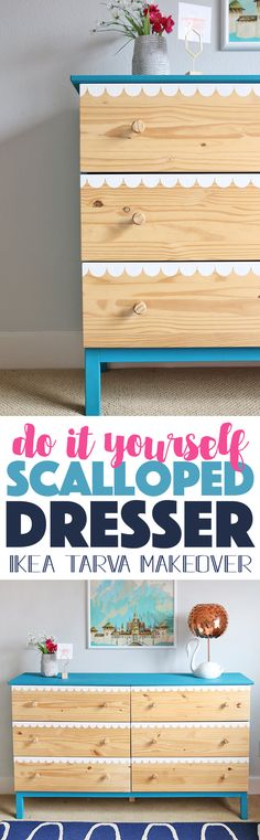 DIY Scalloped Dresser - learn how to paint perfect scallops on drawer fronts to create this cute look. Ikea Tarva makeover
