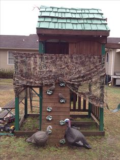 Hunting Blind-We hung old duck blind material around our son's fort. The kids had a great time shooting the turkey & dove decoys with Nerf shotguns!