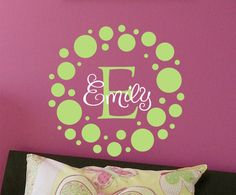Polka Dot Childrens Wall Decal Monogram Vinyl Decal- Vinyl Lettering Wall Art - Nursery of teen girl's bedroom
