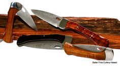Unique, functional folding chef knives for chefs or camping. Hand-forged Japanese stainless blades. www.SalterFineCutlery.com