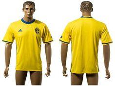 2016 European Cup Sweden Home Blank Yellow Men's Soccer A+ Shirt