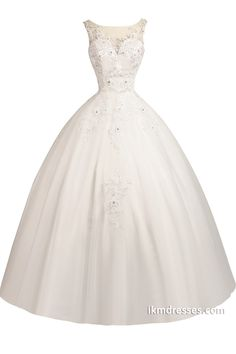 White Appliques Floor Length Bridal Gown Wedding Dress Custom Size http://www.ikmdresses.com/White-Appliques-Floor-Length-Bridal-Gown-Wedding-Dress-Custom-Size-p90560