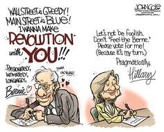 Clinton and Sanders Valentines, John Cole,The Scranton Times-Tribune,Hillary Clinton, Bernie Sanders, Democrats, 2016 elections, valentines day,