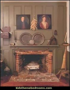primitive americana decorating style - folk art - heartland decor - rustic  Americana home decor - Colonial u0026 Country style decorating Americana  bedroom ...