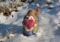 Needle felted gnome, a love gnome