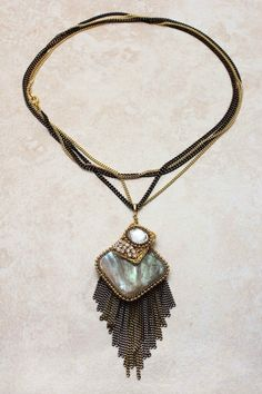 Iridescent Abalone Shell Necklace on Emma Stine Limited