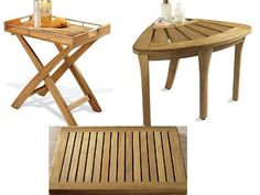 """New Grade A Teak 3 Pc Accessory Set: Corner Stool, Butler Tray and Floor Mat by WholesaleTeak. $340.99. Sturdy teak legs feature adjustable feet for sloping floors.. Corner Stool Dimensions: 26""""W x 19""""D x 17""""H, Shower Bench Dimension: 24""""W x 17""""D x 18""""H. Integrated stainless steel shelf keeps towells and other essentials close at hand.. Made with combination of solid teak and stainless steel to stand humid and damp weather conditions. Butler Tray Dimensions: 23-1/2""""W..."""