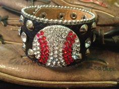 Baseball leather cuff Rhinestone with studs--statement piece