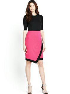 Definitions Petite Colour Block Asymmetric Skirt Dress