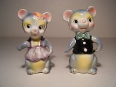 Vintage Salt and Pepper Shakers - Japan! - Pair of Mice! Mr. & Mrs Mouse