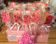 Rice crispy treats with frosting & sprinkles for a Baby Shower.