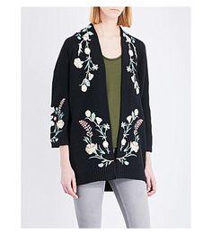 MAJE Mirodi Floral-Embroidered Cotton-Blend Cardigan. #maje #cloth #knitwear