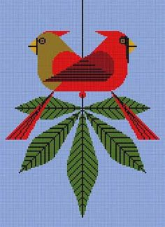 A Charley Harper handpainted needlepoint canvas called Cardinals Consorting. This is iconic Charley Harper art done beautifully in needlepoint. Needlepoint Designs, Needlepoint Pillows, Needlepoint Stitches, Needlepoint Kits, Needlepoint Canvases, Needlework, Cross Stitch Bird, Cross Stitch Designs, Cross Stitch Embroidery