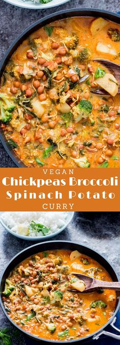 Make this easy healthy curry for your next weeknight dinner. It's loaded with all vegetables -chickpeas, spinach, broccoli and potatoes. This coconut-y creamy curry is best for family dinner. #curry #vegancurry #healthycurry #weeknightdinner #easydinnerrecipes @currytrail