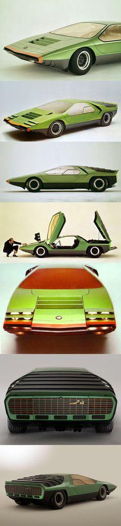 1968 Alfa Romeo Carabo / 33 Stradale / Marcello Gandini @ Bertone / green orange / Italy / concept