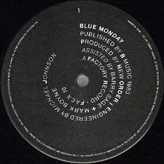 "Label for A side of New Order's ""Blue Monday"" 12"", by Peter Saville for Factory Records, 1983."