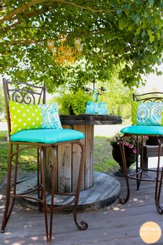 DIY - Use marine vinyl for a longer life on outdoor furniture! Colorful Outdoor Living - Refreshing Fabric