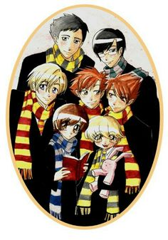 Ouran Highschool Host Club- Harry Potter Parody Ouran High School Host Club Style They got it right, though :) love how Kyoya-senpai is the only Slytherin. Fits him perfectly. And the club shows inter house unity. Omg HOGWARTS TIME TO GO Colégio Ouran Host Club, Ouran Highschool Host Club, Host Club Anime, High School Host Club, Harry Potter Fan Art, Harry Potter Parody, Fandom Crossover, Anime Crossover, Manga Comics