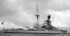 HMS Revenge: brand new in 1916, she had just joined the Grand Fleet at the time of Jutland.  The single funnelled 15 in 'R' class were notably slower (but cheaper) than the preceding Queen Elizabeths.  She served on into WW2.