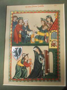 Codex Manesse, Johannes Hadloub, Mounted German Antique Colour Lithograph 1910.
