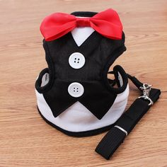 ColyBeauty.cor Pets Evening Dress with Tie Chest Back Thoracic dorsal Type Clothes Leash for Small Animals Puppy Dog and Cat Color Black *** Trust me, this is great! Click the image. : Cat Collar, Harness and Leash