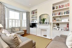 5 bedroom semi-detached house for sale in MERTON ROAD, London, - Rightmove. Apartment Living, Living Room Inspo, 1930s House Interior, Snug Room, Living Room Shelves, New Living Room, Beige Living Rooms, Interior Decorating Living Room, Victorian Living Room