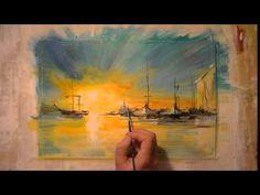 Пейзаж. Акриловые краски (wall-style) - YouTube