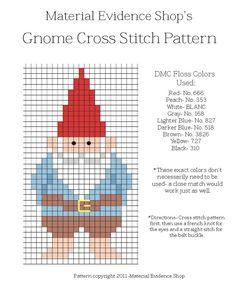 Gnome Cross Stitch. Gnomo punto de cruz