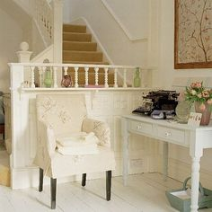 There's such a sweet sense of elegance to this pale hued, classically beautiful little corner. #chair #home #decor #office #desk #typewriter #vintage #shabby #chic