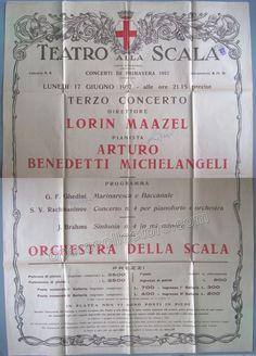 Benedetti Michelangeli, Arturo - Maazel, Lorin - Poster 1957 La Scala
