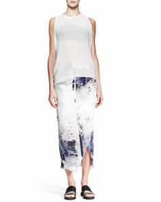 Breeze Sleeveless Keyhole Top and Tidal Printed Asymmetric Skirt by Helmut Lang at Neiman Marcus.