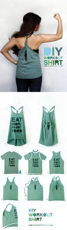just made this from an old high school shirt :)DIY Workout Shirt.just made this from an old high school shirt :) Old T Shirts, Cut Shirts, Band Shirts, Pimp Your Clothes, Diy Gym Clothes, Summer Clothes, New Outfits, Cute Outfits, Tomboy Outfits