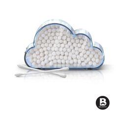 Recipiente en forma de nube para poner los copitos de algodón. Material: Plástico
