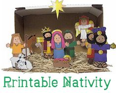 Make this charming nativity set with your children in less than half-an-hour. Free printable.