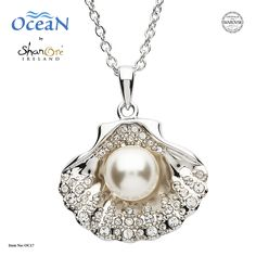 Shanore Women Sterling Silver Pearl and Swarovski Sea Shell Pendant Necklace Celtic Necklace, Pearl Pendant Necklace, Shell Pendant, Pearl Jewelry, Flower Pendant, Sterling Silver Flowers, Silver Pearls, Swarovski Pearls, Ocean Jewelry