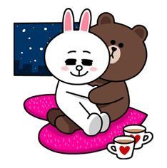 Cuddling ❤ Bunny And Bear, Line Love, Line Friends, Bear Doll, Cony Brown, Brown Bear, Mignon, Brown Line, Line Sticker