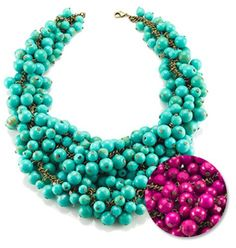 Bridesmaid necklace? Decked out necklace. Comes in stunning seafoam green and eye-popping magenta.
