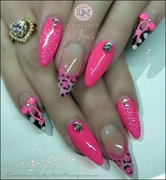 Hot Pink Nails with Pink Leopard Print, Polka Dots, Pink 3D Bow & Bling!..