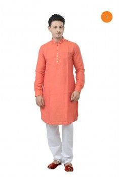 Manyavar Elegant Cotton Short Kurta. The art silk pintucks kurta with red matte fabric detailing on collar, placket and sleeves and looped with gundi buttons gives you an elegant casual look.