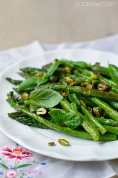 Roasted Asparagus with Basil and Pistachios